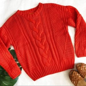 One A Orange Cable Knit Sweater Size PXS NWT